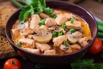 Курица с грибами и помидорами на сковороде