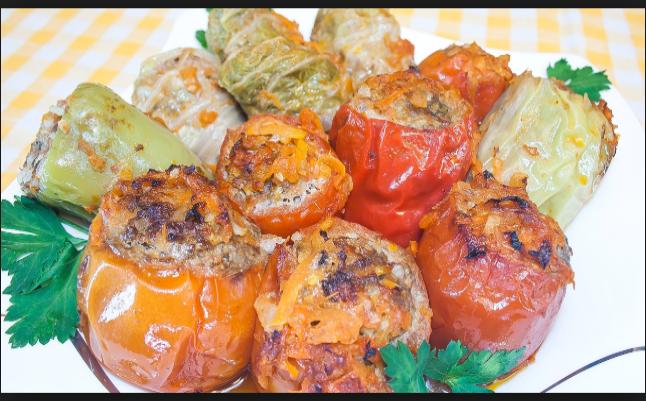 Овощи, фаршированные мясом, запеченные в духовке – вкусный рецепт!