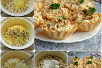 Салат с курицей и ананасом в тарталетках.Иногда самый обычный рецепт можно оживить красивой подачей