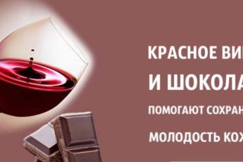 Красное вино и шоколад помогают сохранить молодость кожи и предотвратить старение!